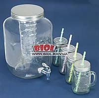 Питьевой набор - лимонадница стеклянная 8л (краник, сетка) плюс набор 4шт. кружки 0,4л Handycor