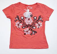 Футболка-вишиванка трикотажна для дівчинки рожева Троянда Piccolo L