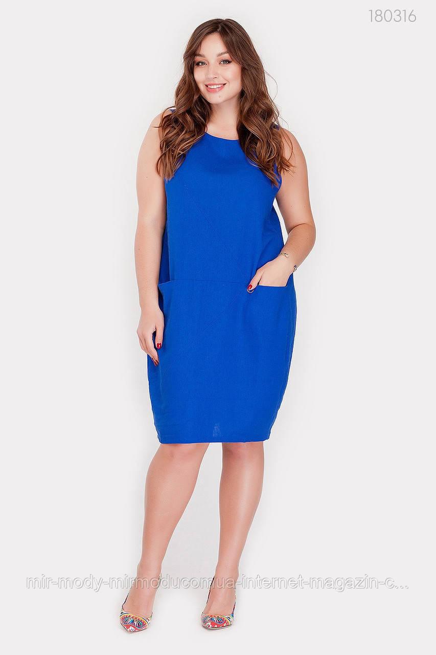 Батальное летнее платье Лацио лен (3 цвета) с 50 по 56 размер (рин)
