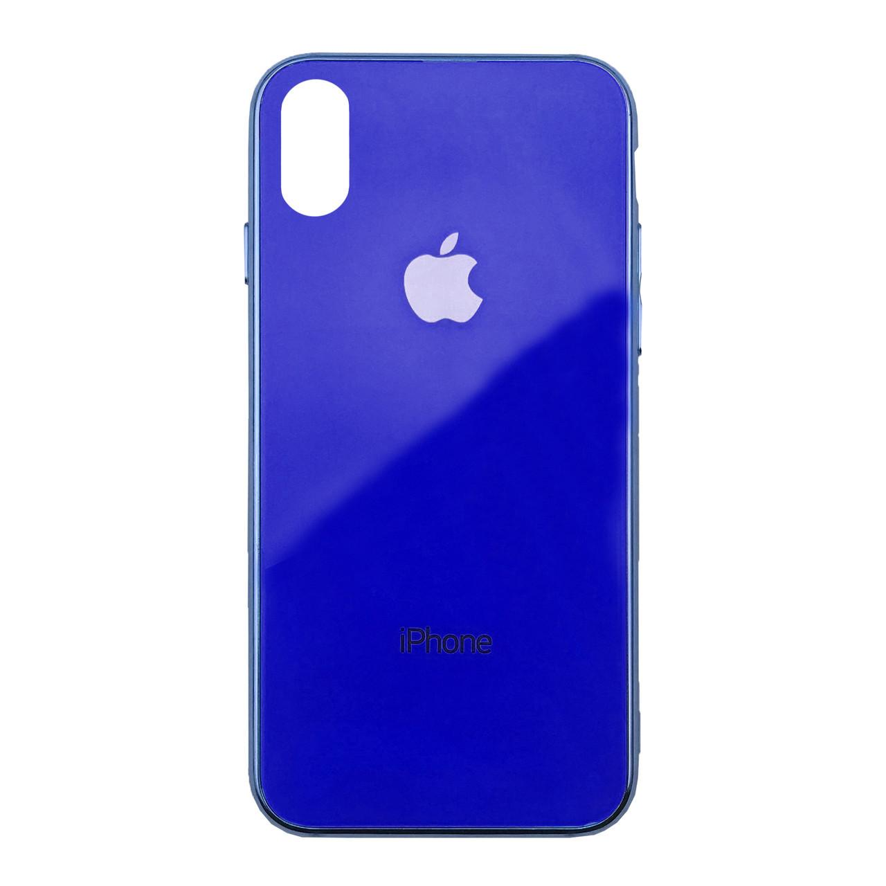 Чехол для iPhone XS Max Glass Case Logo Metallic blue