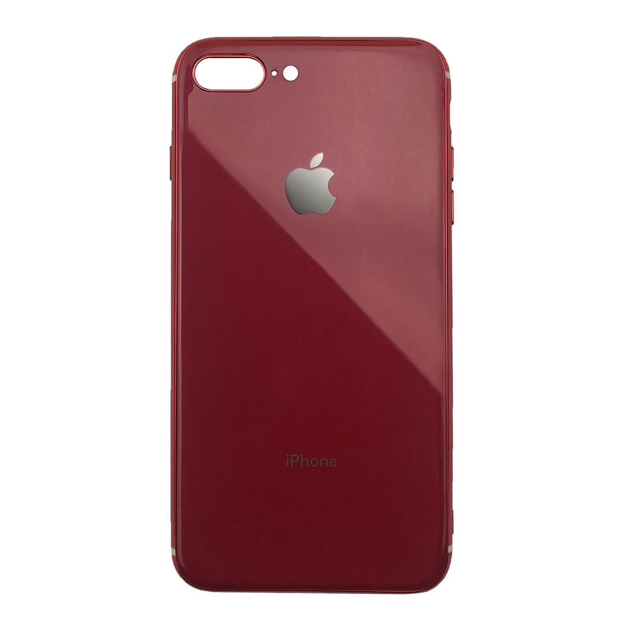 Чехол для iPhone 7 Plus/8 Plus Glass Silicone Case Logo red