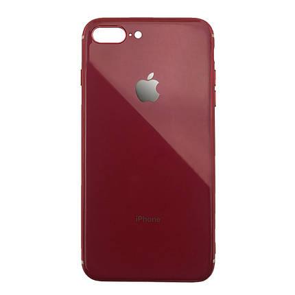 Чехол для iPhone 7 Plus/8 Plus Glass Silicone Case Logo red, фото 2