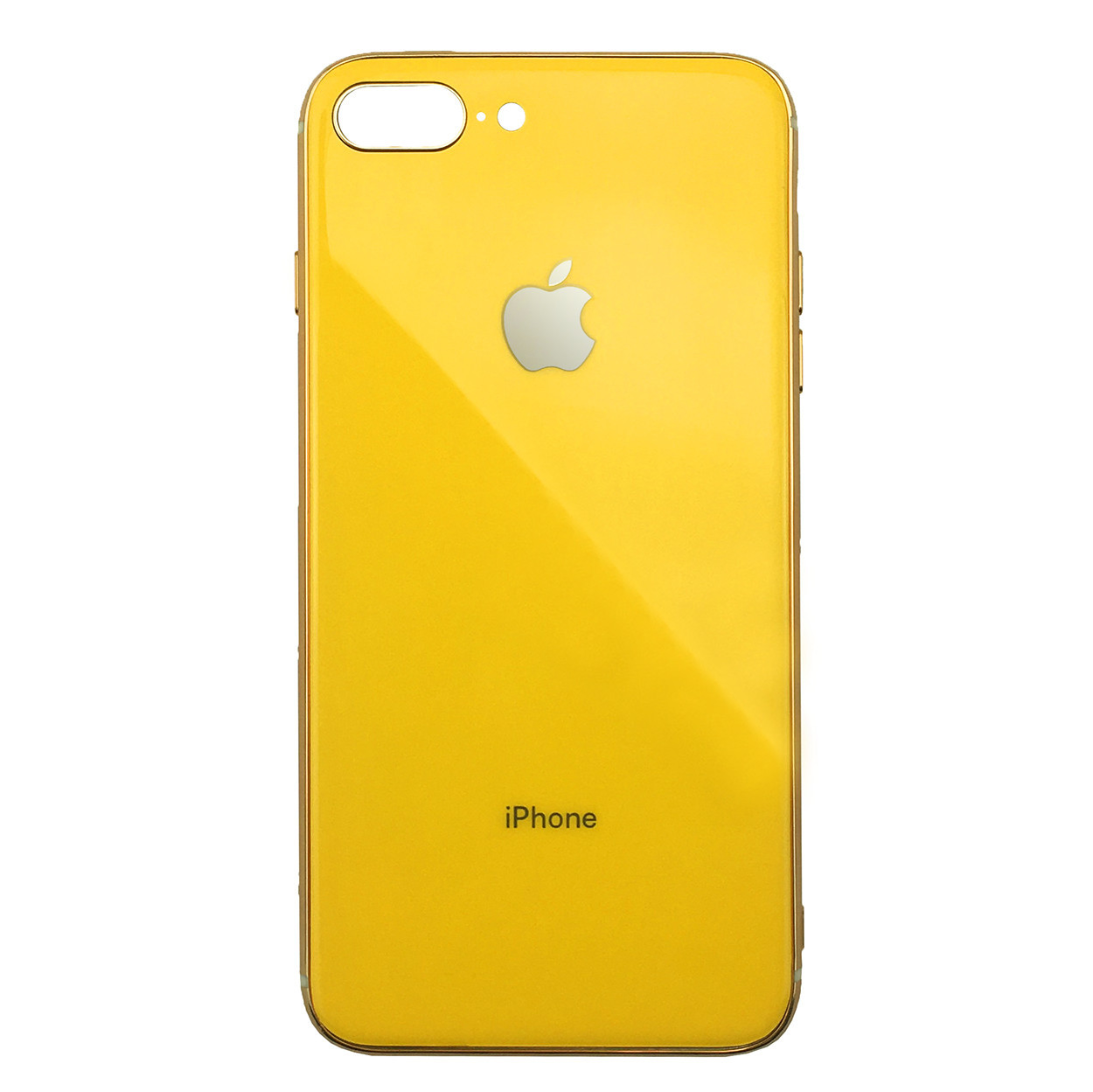 Чехол для iPhone 7 Plus/8 Plus Glass Silicone Case Logo yellow