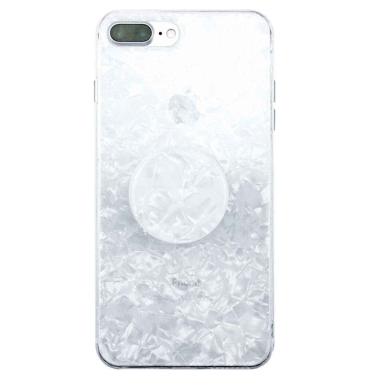 ✅ Чехол накладка xCase на iPhone 7 Plus/8 Plus Broken Glass силикон белый + Popsocket