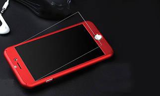 ✅ Чехол накладка на iPhone 7 Plus/8 plus красный пластик двухсторонний со стеклом, защита 360 градусов