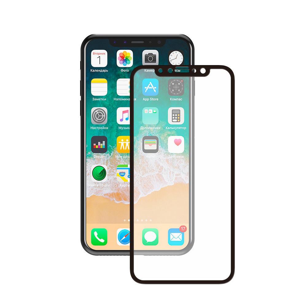 Защитное стекло 5D для iPhone X/XS FULL SCREEN черный, тех. уп.