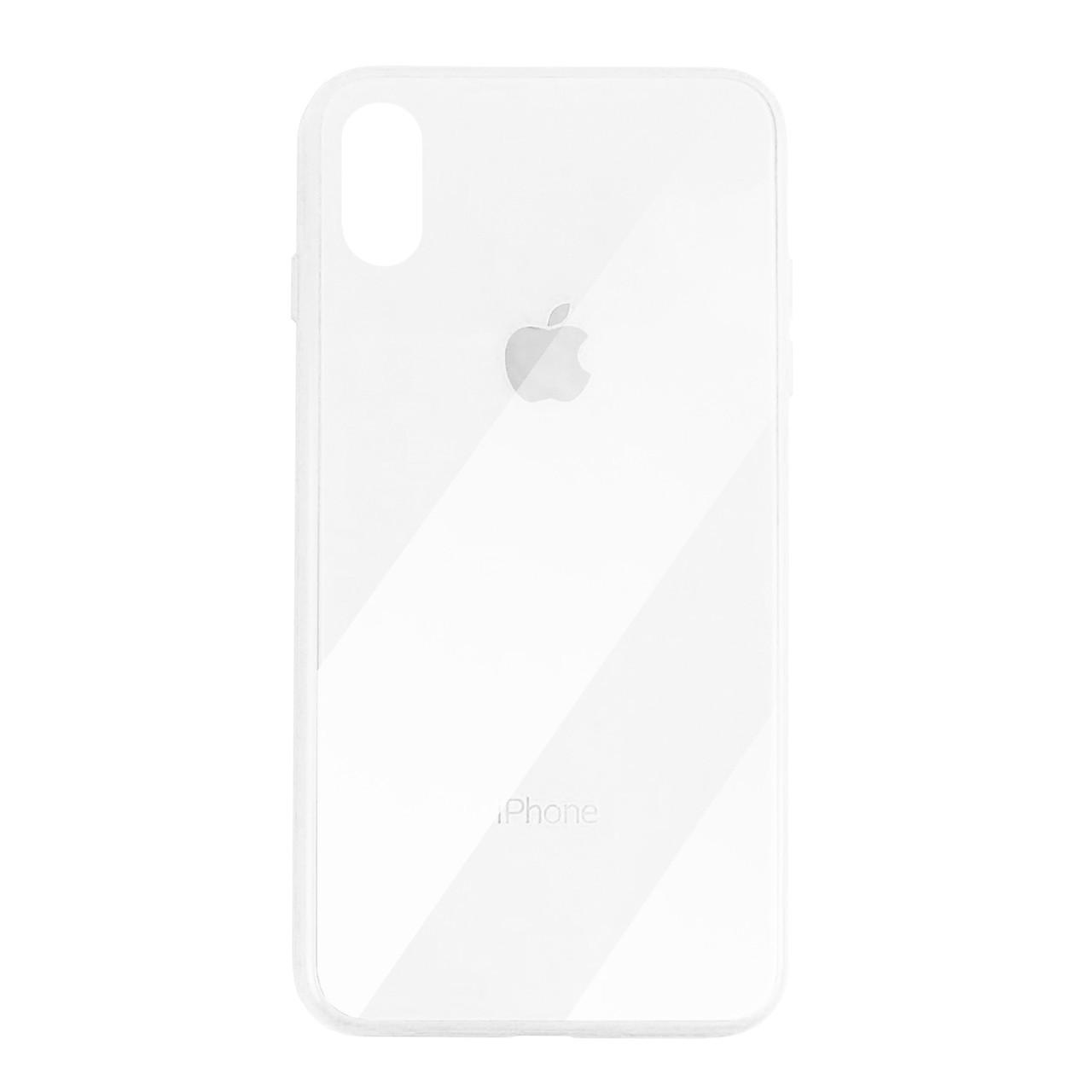 Чехол для iPhone X Glass Case Logo white
