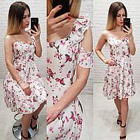 Платье летнее, модель 164, розовая веточка на белом