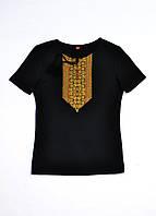 Вышиванка - футболка женская черная с золотой вышивкой Натали MOTYV by Piccolo L