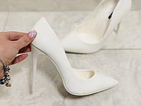 Белые женские туфли -питон,под рептилию, фото 1