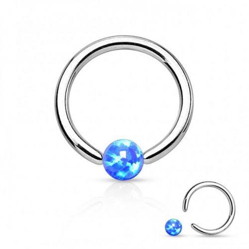 Кольцо титановое с голубым опалом PKTO-01 серебристый
