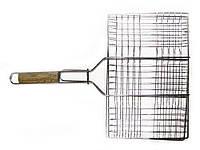 Решетка-гриль для мяса мелкая, 26х35см, деревянная ручка 59см Sunday (73-503)