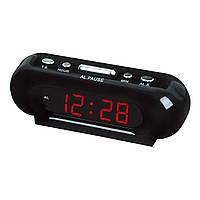 Часы VST 716 red, Настольные часы от сети с красной подсветкой, Электронные часы с будильником, LED часы