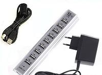 Разветлитель USB HUB 10 PORTS 220V, USB-хаб, Разветлитель с блоком питания, Юсб хаб активный 10 портов