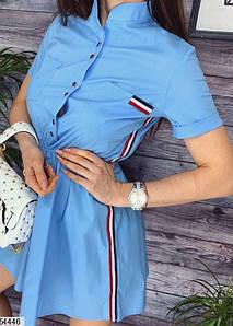 Стильное платье короткое юбка солнце клеш с коротким рукавом голубого цвета