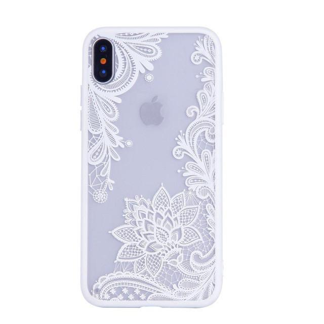 Чехол для iPhone Х ажурный №2 белый