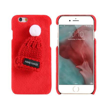 Чехол на iPhone Х плюшевый красный с красной шапочкой пластик, фото 2