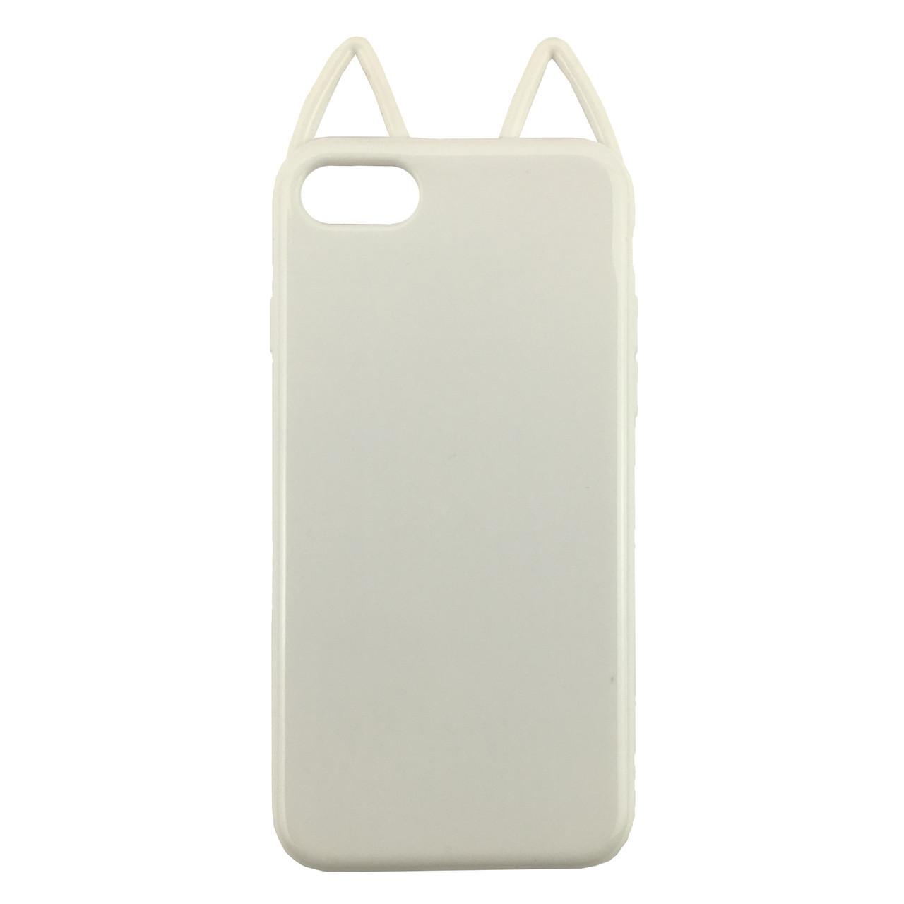 Чехолна iPhone7 Plus/8 Plus белый глянцевый кот, плотный силикон