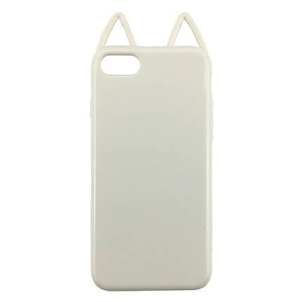 Чехолна iPhone7 Plus/8 Plus белый глянцевый кот, плотный силикон, фото 2