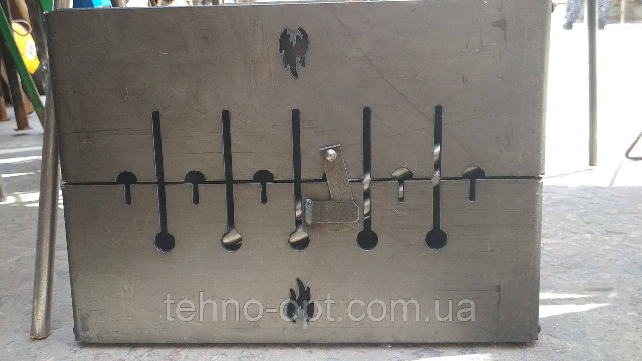 Мангал Огонёк раскладной в чемодан 3мм с ножками на 6 шампуров ХВЗ