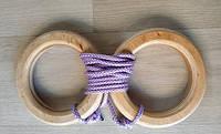 Деревянные гимнастические детские кольца (сиреневые) дляшведской стенки