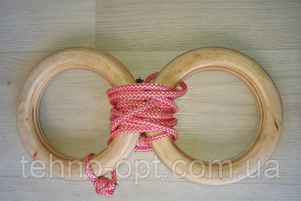 Деревянные гимнастические детские кольца (розовые) дляшведской стенки