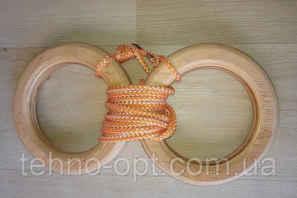 Деревянные гимнастические детские кольца (оранжевые) дляшведской стенки