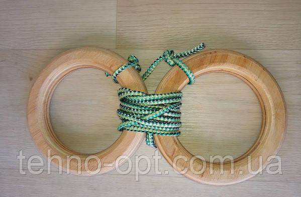 Деревянные гимнастические детские кольца (зелёные) дляшведской стенки