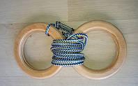 Деревянные гимнастические детские кольца (синие) дляшведской стенки