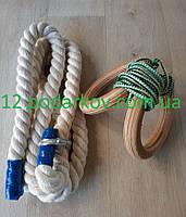 Деревянные гимнастические детские кольца (зелёные) плюс Канат хб 26 мм для шведской стенки , фото 1