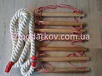 Деревянная детская верёвочная лестница (розовая) плюс Канат хб 26мм для шведской стенки
