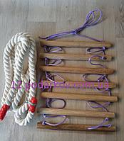 Деревянная детская верёвочная лестница (сиреневая) плюс Канат хб 26мм для шведской стенки