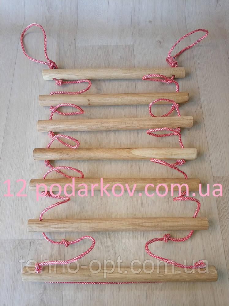 Деревянная детская верёвочная лестница (розовая) для шведской стенки