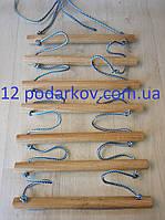 Деревянная детская верёвочная лестница (синяя) для шведской стенки