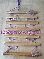 Деревянная детская верёвочная лестница (сиреневая) для шведской стенки