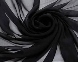 Ткань шифон однотонный, цвет черный