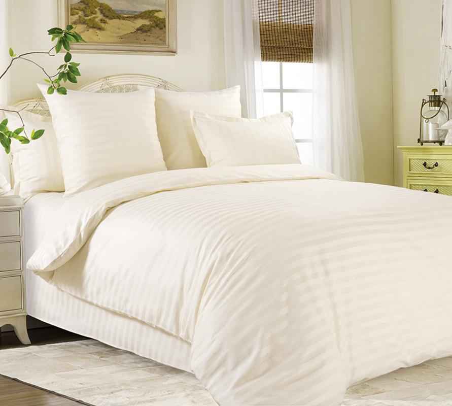 Двуспальный Евро комплект постельного белья (страйп-сатин люкс, 200*220 см)