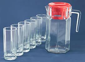 """Питьевой набор кувшин стеклянный 1,25л с крышкой и 6шт. стаканов 260мл """"Kosem"""" Pasabahce 97415"""