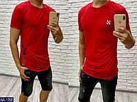 "Мужская классная летняя футболка ""off white"" декор силикон (турецкая футболка) 3 цвета, фото 1"