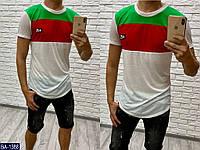 """Мужская классная летняя футболка """"fendi"""" декор силикон (турецкая футболка) цвет-зеленый/красный/белый"""