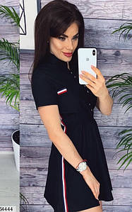Летнее спортивное платье короткое юбка расклешенная с коротким рукавом черное