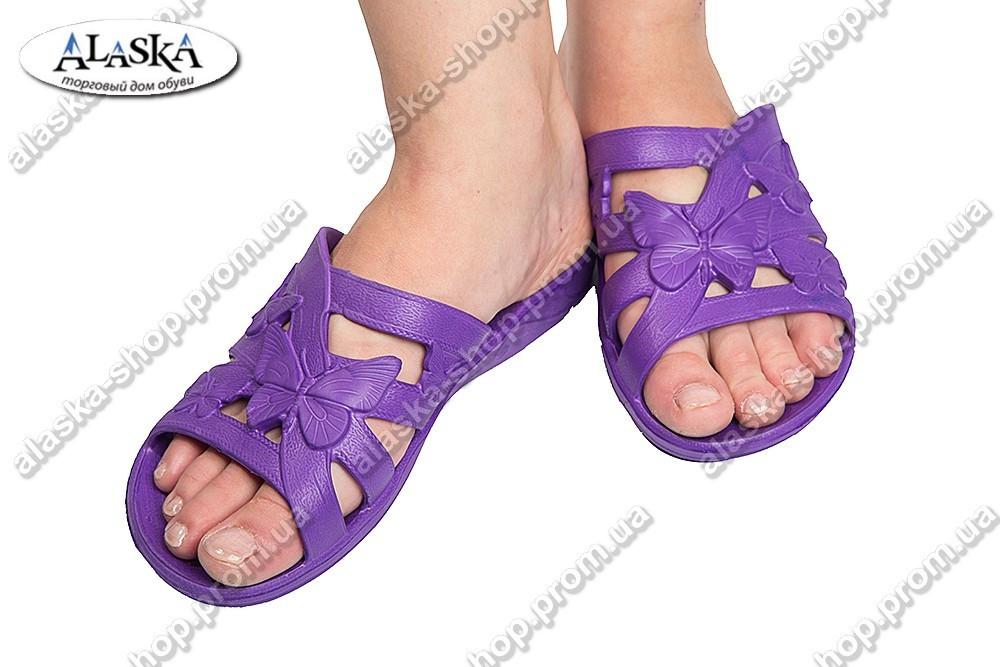 Женские шлепанцы фиолетовые (Код: ТЕА бабочка)