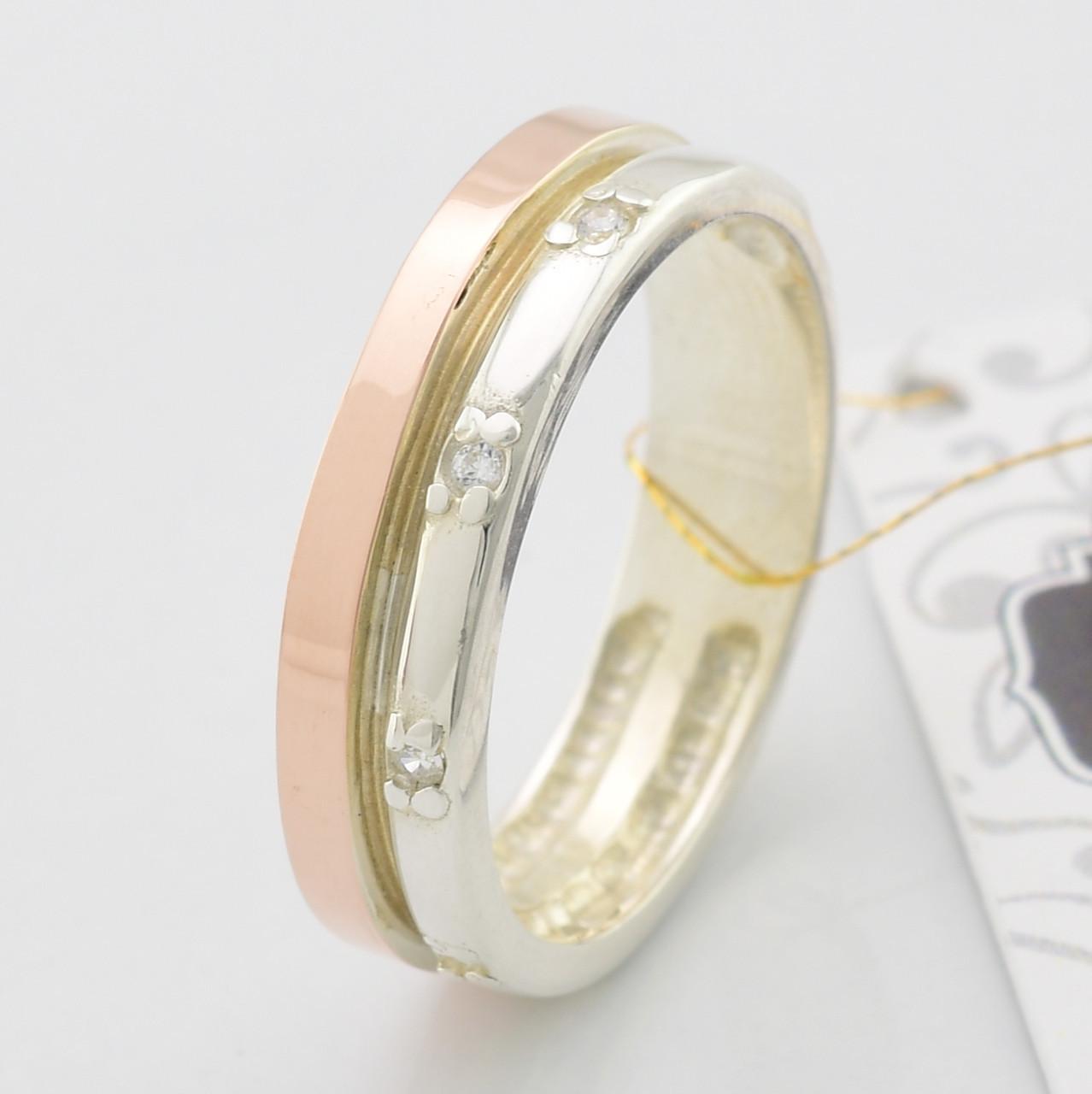 Серебряное кольцо с золотыми пластинами, вставка белые фианиты, вес 3.2 г, размер 18