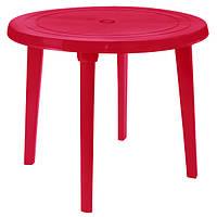 Стол пластиковый круглый 90 см (красный)
