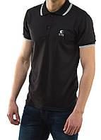 Мужская футболка polo YSTB с воротником черная (мужские футболки, молодежные, стильные, поло)