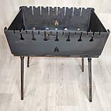 Мангал Огонёк раскладной на 8 шампуров 3мм чемодан + шампурами с деревянной ручкой 8 шт ХВЗ, фото 2