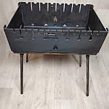 Мангал Огонёк раскладной на 8 шампуров 3мм чемодан + шампурами с деревянной ручкой 8 шт ХВЗ, фото 4
