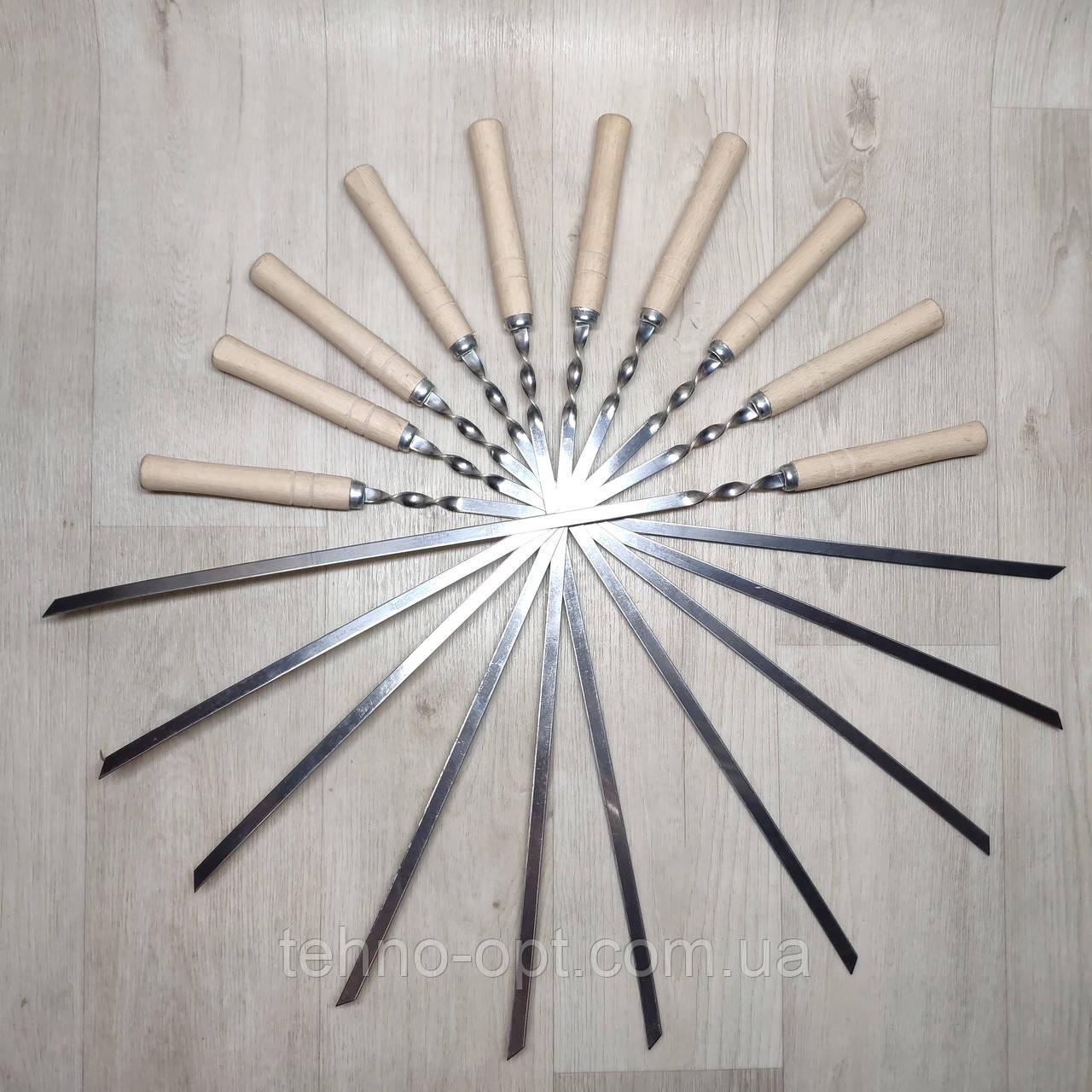 Шампура из нержавейки с деревянной ручкой длинна 60 см толщина 2 мм
