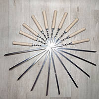 Шампура из нержавейки с деревянной ручкой длинна 60 см толщина 2 мм , фото 1
