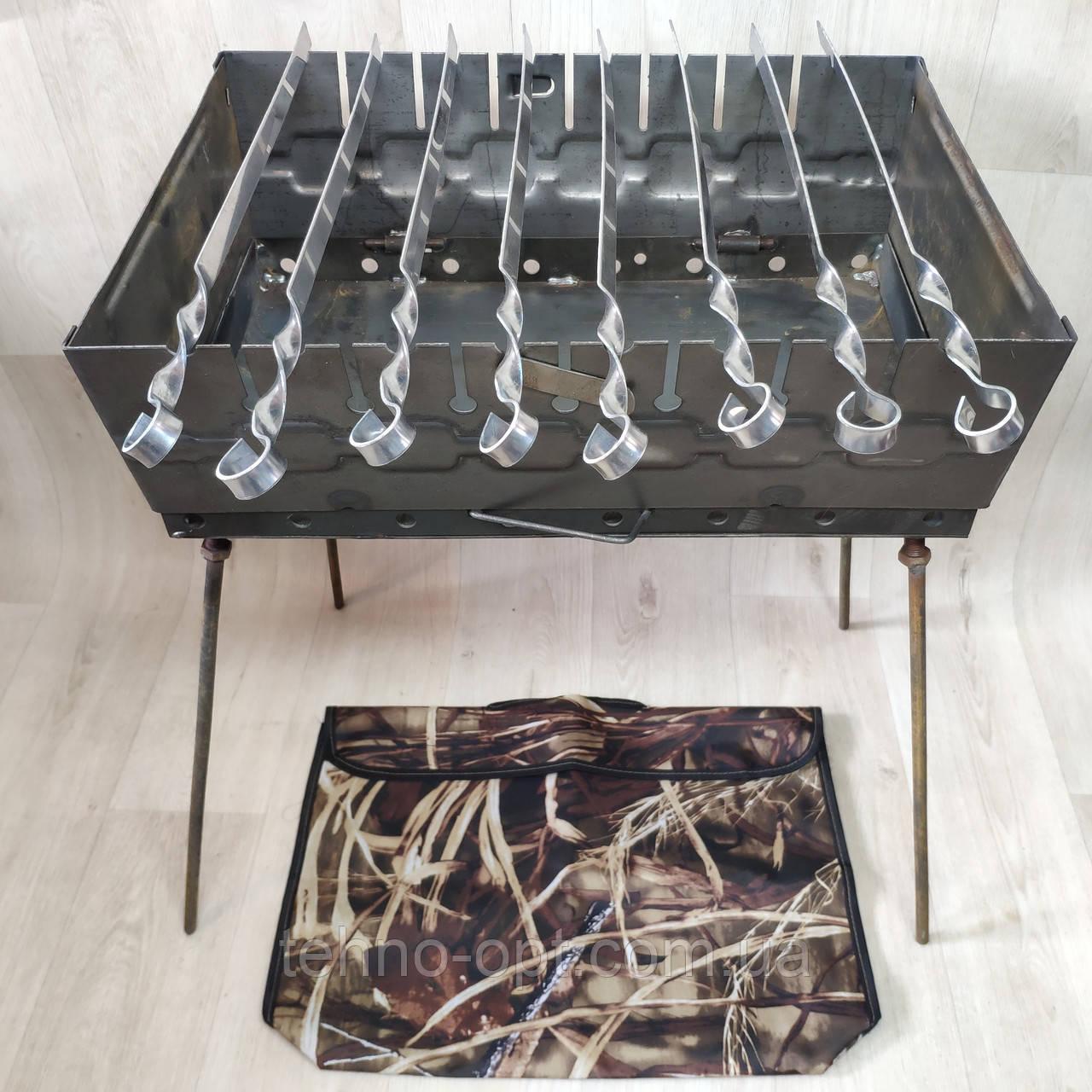 Мангал раскладной в чемодан 2ммс чехлом и шампурами 8 шт